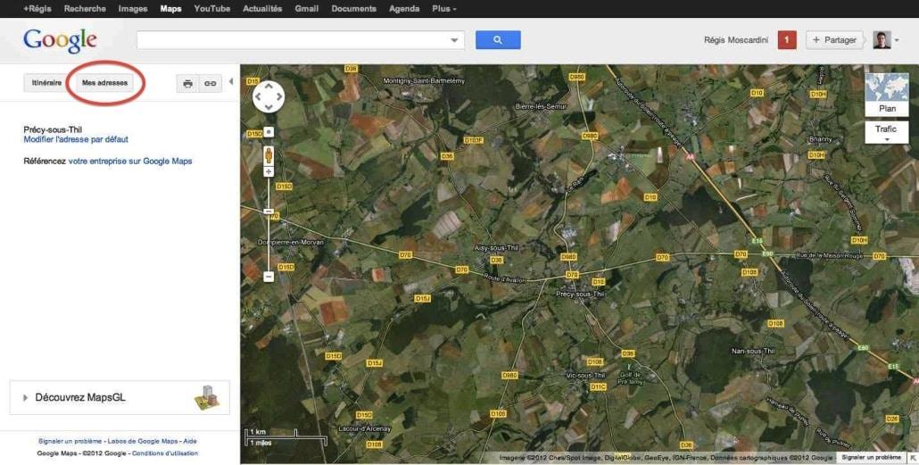 capture écran google maps accueil