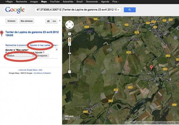 capture ecran google maps ajout mes cartes