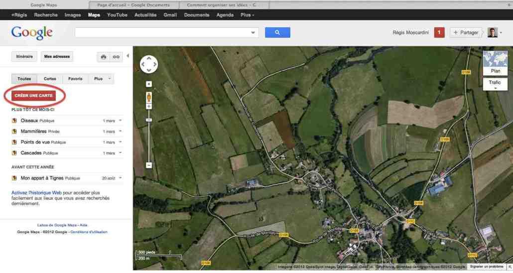 capture écran google maps création carte