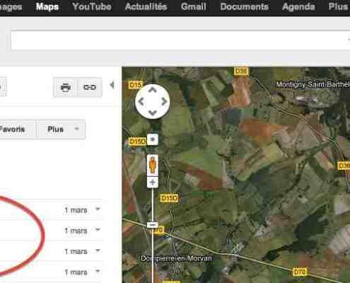 capture écran google maps mes adresses