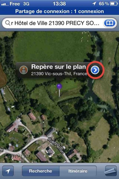 capture ecran iphone google maps 6 390x585 Tutoriel : comment utiliser Google Maps en photo animalière