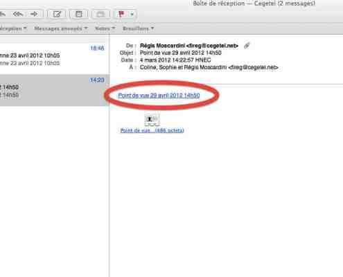 capture écran mail réception