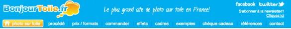 menu bonjour toile 585x59 [Jai testé pour vous] BonjourToile.fr   vos photos sur toile