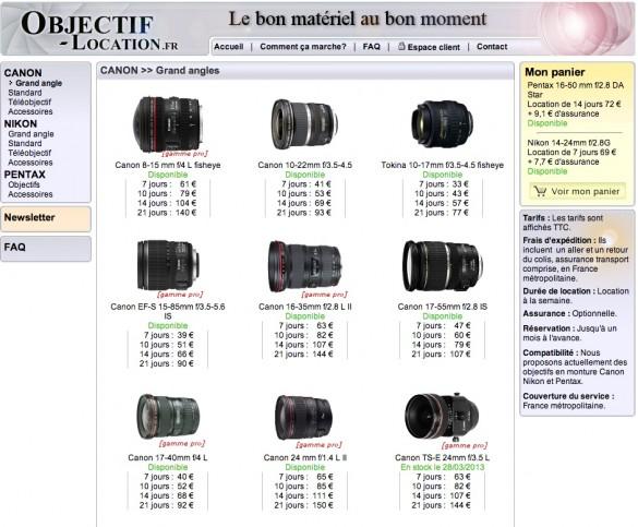 site internet objectif location 585x483 [Jai testé pour vous] La location dobjectifs photo