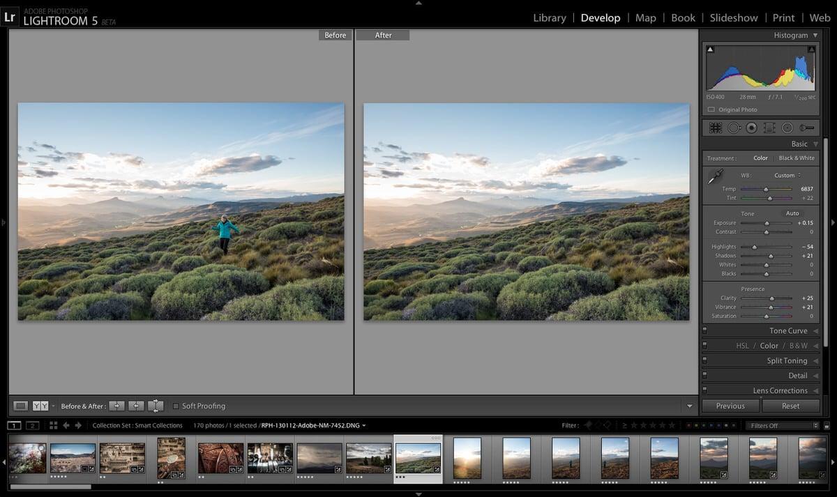 L'interface du logiciel Lightroom 5 d'Adobe