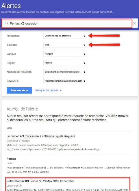 google alerte occasion